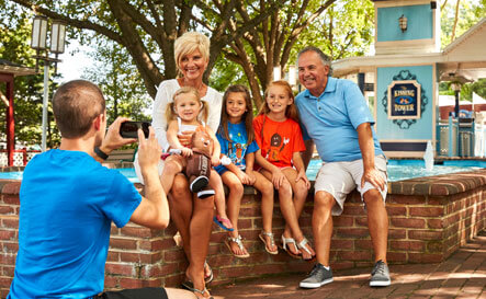 Family posing for photo at Hersheypark
