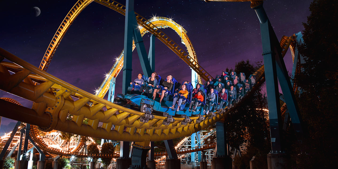 Skyrush coaster at night