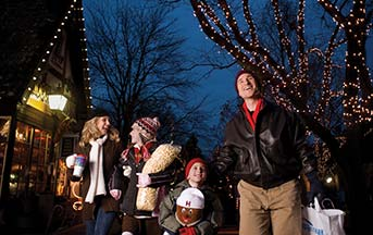 A family at Christmas Candylane at Hersheypark